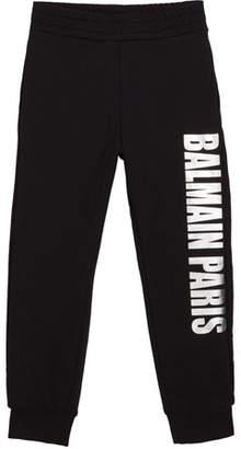 Balmain Kid's Metallic Logo Sweatpants, Size 10-16