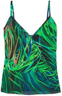 Elie Saab Printed Silk-georgette Camisole - Green