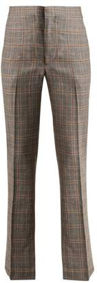 Toga Checked Slit Hem Wool Trousers - Womens - Grey