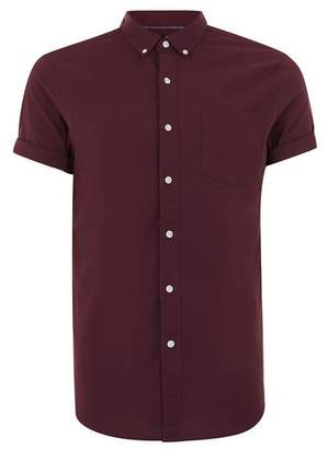 Topman Mens Red Burgundy Muscle Fit Oxford Short Sleeve Shirt
