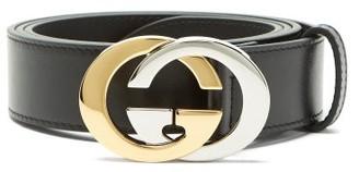 Gucci Two Tone Metal Interlocking G Leather Belt - Mens - Black