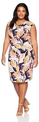 Jessica Howard Women's Plus Size Printed Drape Neck Dress