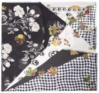 Alexander McQueen black floral raw edge wool scarf