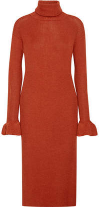 Ulla Johnson Claude Ribbed Alpaca And Silk-blend Turtleneck Midi Dress - Crimson