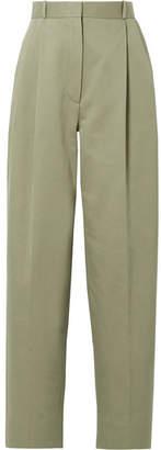 The Row Nica Cotton-twill Straight-leg Pants - Green