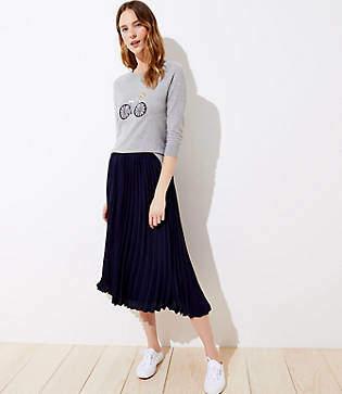 LOFT Petite Pleated Pull On Skirt