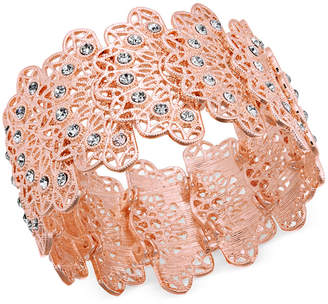 INC International Concepts I.n.c. Rose Gold-Tone Crystal Filigree Stretch Bracelet, Created for Macy's