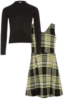 River Island Girls Lime Check Top And Dress Set - Yellow