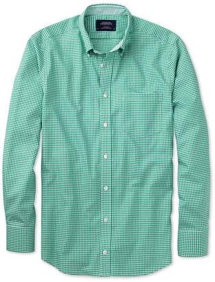 Charles Tyrwhitt Slim Fit Non-Iron Oxford Gingham Mid Green Cotton Casual Shirt Single Cuff Size XS