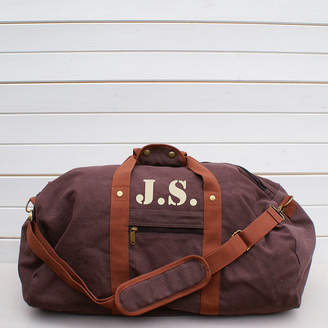 58b96660e987 Sparks And Daughters Personalised Vintage Brown Canvas Holdall Bag