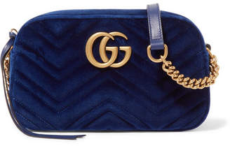 Gucci Gg Marmont Small Quilted Velvet Shoulder Bag - Navy