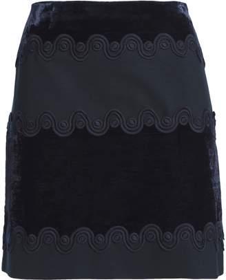 Sandro Lace-trimmed Velvet And Ponte Mini Skirt