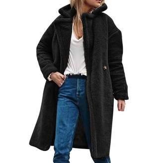 1c7f80fd3e3f9d DongDong New Women s Thick Faux Fur Lapel Parka Long Casual Overcat Peacoat  Winter Solid Coats Jackets