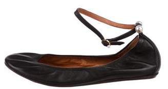 Lanvin Leather Ankle-Strap Flats