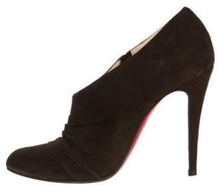 Christian Louboutin Suede Ruched Booties