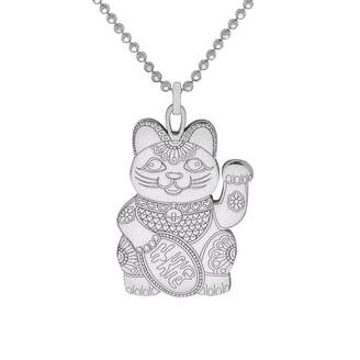 CarterGore - Silver Lucky Cat Pendant Necklace
