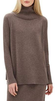 Lafayette 148 New York Cashmere Side-Zip Raglan Turtleneck Sweater