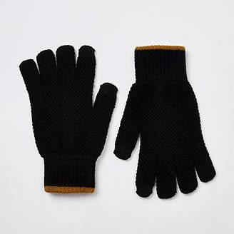 River Island Black knit stripe cuff gloves