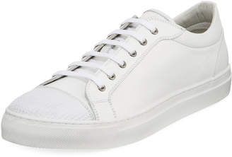 Jared Lang Leather Sneaker w/ Textured Toe