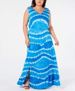 INC International Concepts Inc Plus Size Tie Dye Blouson Maxi Dress, Created for Macy's