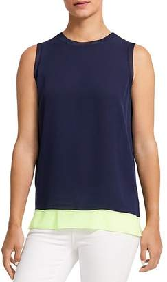Theory Lewie Color-Blocked Silk Top