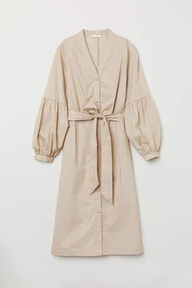 H&M V-neck Shirt Dress - Beige