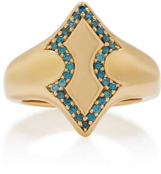 Adina Ilana Ariel 18K Gold Diamond Signet Ring