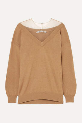 Alexander Wang Oversized Mesh-trimmed Knitted Sweater - Camel