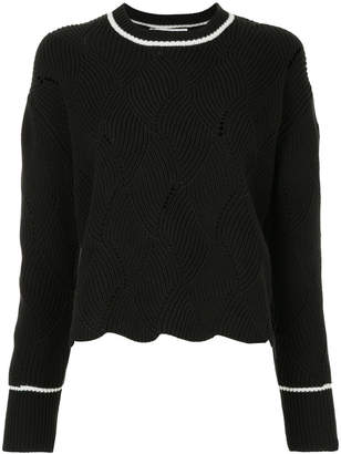 Le Ciel Bleu contrast trim cable knit jumper