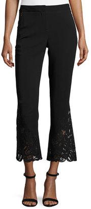 Kobi Halperin Kerri Cropped Lace-Hem Flared-Leg Pants, Black $498 thestylecure.com