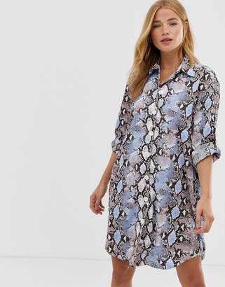 Qed London QED London shirt dress in blue snake print