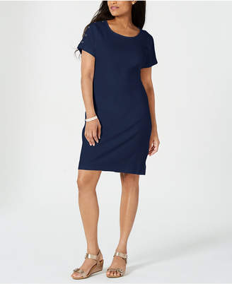 Karen Scott Cotton Button-Shoulder Dress