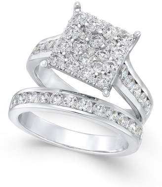 Macy's Diamond Square Cluster Bridal Set (2 ct. t.w.) in 14k White Gold