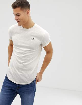 Hollister Curved Hem Crew Neck T-Shirt Seagull Logo in Beige