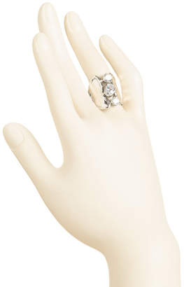 Rubi Made In Israel Sterling Silver Cz Wide Band Ring