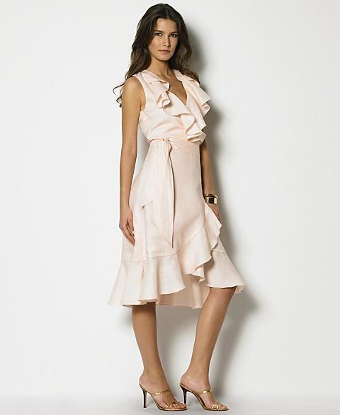 Lauren by Ralph Lauren Linen Sleeveless Wrap Ruffle Dress