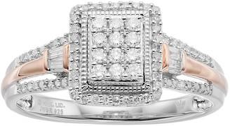 Hallmark Two Tone Sterling Silver 1/3 Carat T.W. Diamond Rectangle Halo Ring
