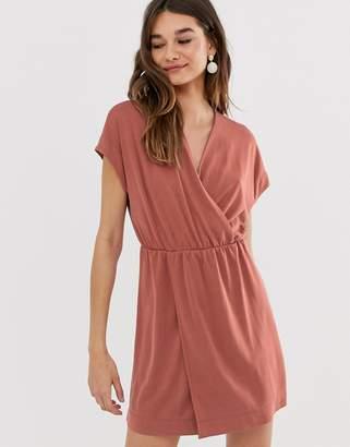 6bbfddc96e75 Monki wrap front mini dress in rust