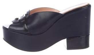 Robert Clergerie Leather Platform Slide Sandals