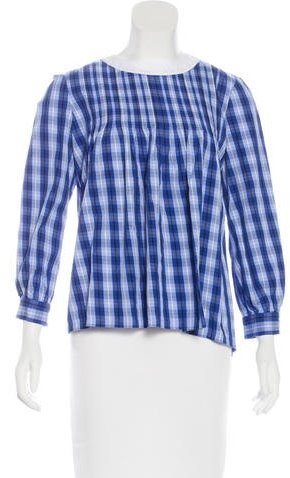 Kate Spade Broome Street Long Sleeve Plaid Blouse