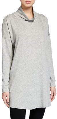 Eileen Fisher Turtleneck Side-Slit Long-Sleeve Terry Tunic