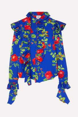 Vetements Ruffled Floral-print Crepe Blouse - Blue