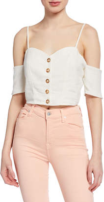 Moon River Sweetheart Button-Front Cold-Shoulder Crop Top