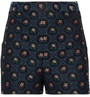 Anna Sui Guipure Lace-trimmed Floral-jacquard Shorts