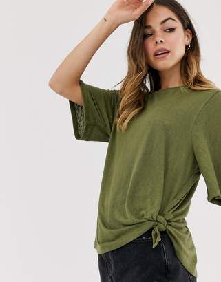 Asos Design DESIGN relaxed t-shirt with knot side