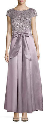 Alex Evenings Sequin and Bow Satin Cap Sleeve Gown