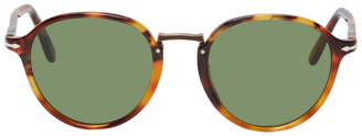 Persol Tortoiseshell and Green PO3210S Typewriter Edition Sunglasses