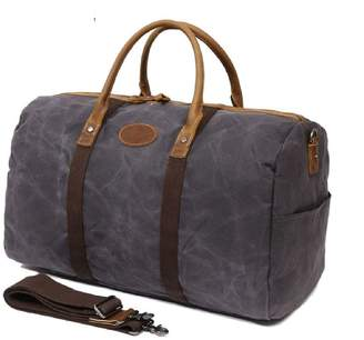 EAZO - Waxed Canvas & Vintage Leather Holdall In Grey