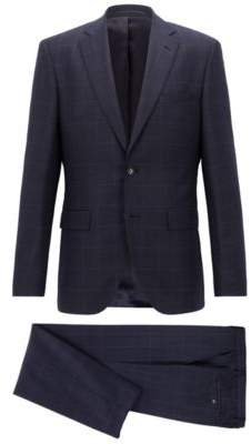BOSS Hugo Regular-fit suit in checkered virgin wool serge 40R Open Blue