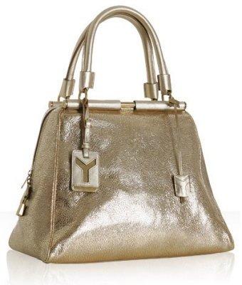 Yves Saint Laurent gold cracked leather 'Majorelle' bowler bag